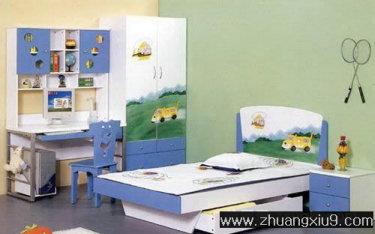 室内装修设计图片之儿童房装修图片:可爱儿童房效果图暖色床,