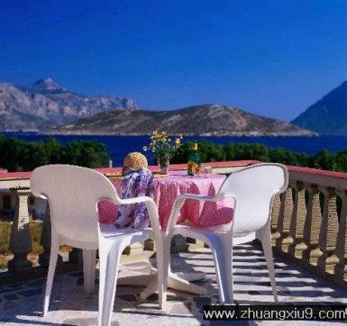 装修设计图片之阳台装修图片:田园欧式大户型阳台实景图冷色