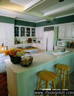 家庭室内装修设计图片之厨房装修图片:田园欧式复式厨房实